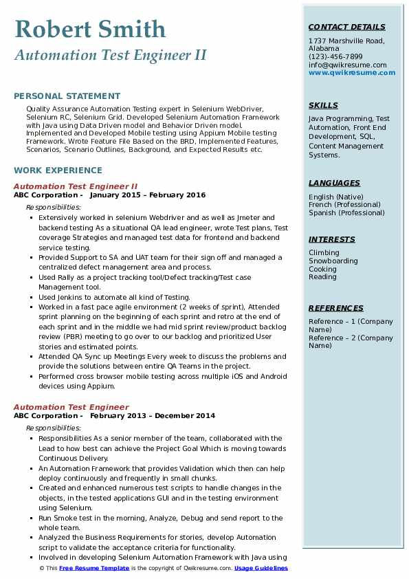 Automation Test Engineer II Resume Sample