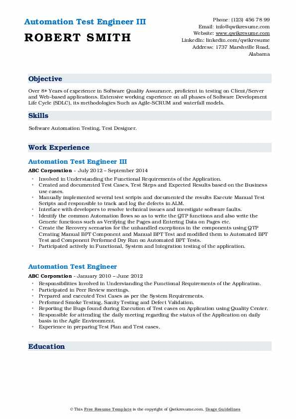 Automation Test Engineer III Resume Format
