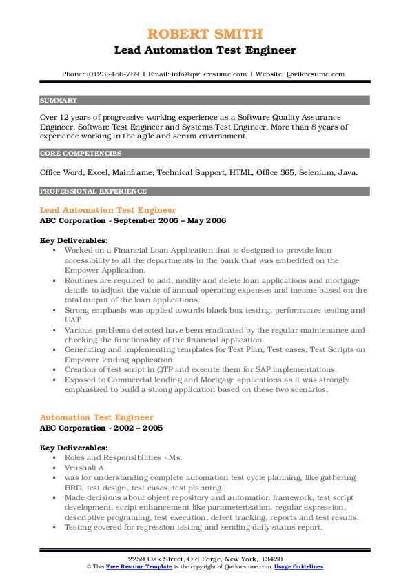 Lead Automation Test Engineer Resume Format