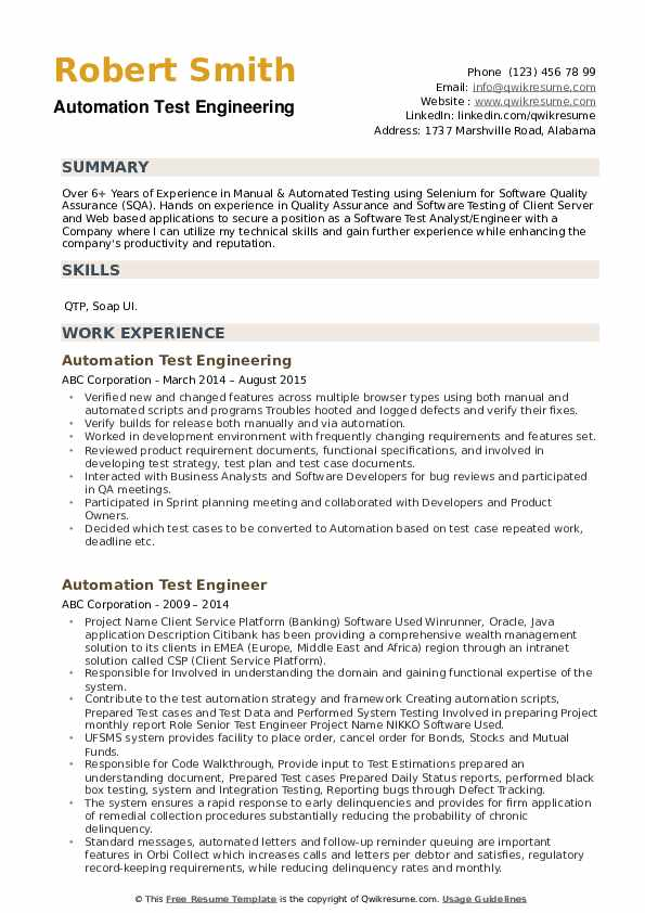 Automation Test Engineering Resume Template