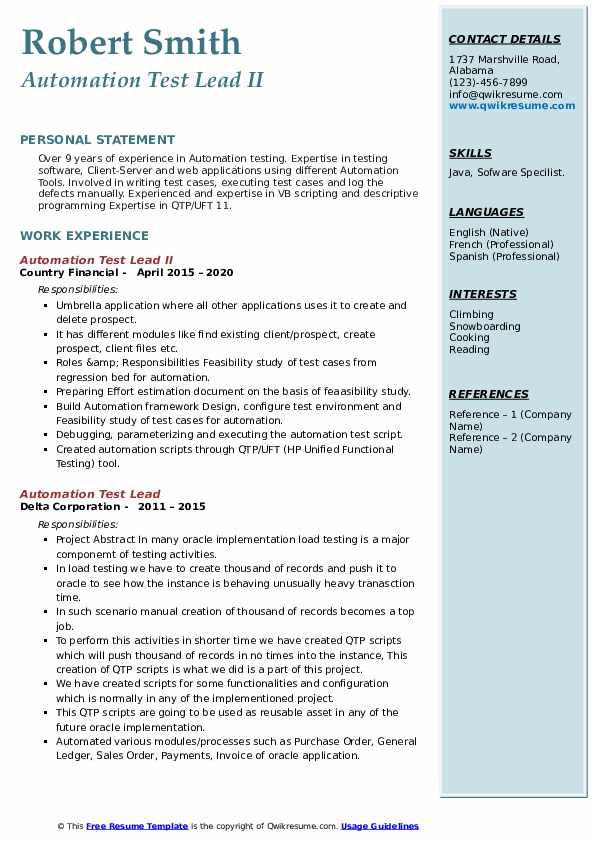 automation test lead resume samples  qwikresume