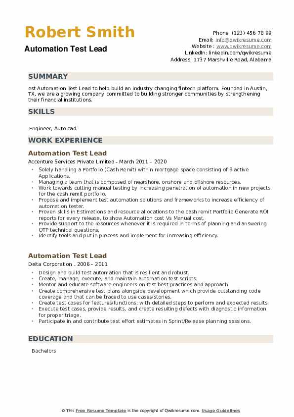 Automation Test Lead Resume example
