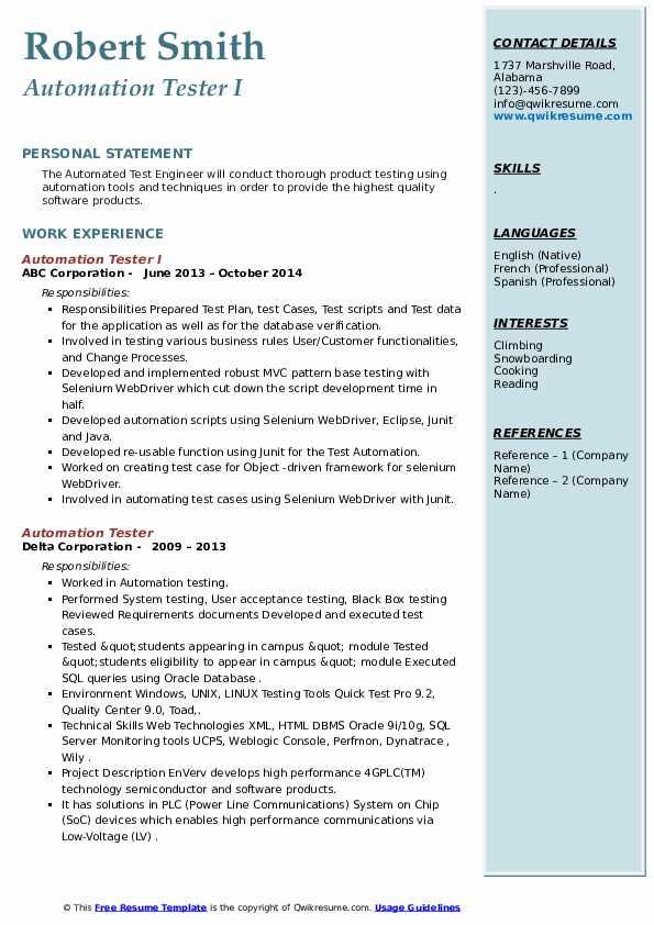 automation tester resume samples  qwikresume