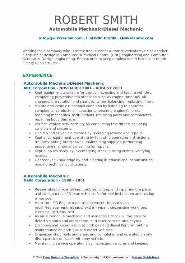 Automobile Mechanic Resume Samples   QwikResume