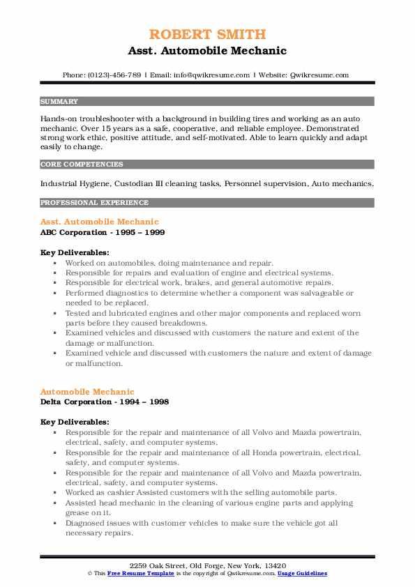 Automobile Mechanic Resume Samples | QwikResume