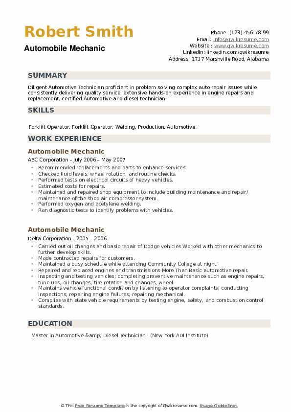 Automobile Mechanic Resume example