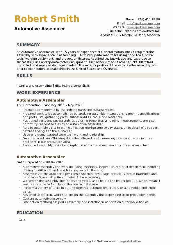 Automotive Assembler Resume example