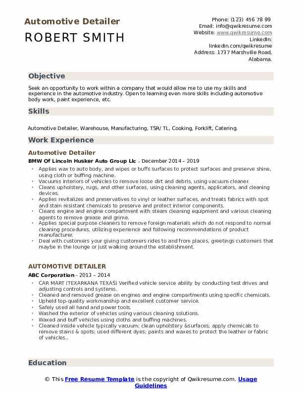 Automotive Detailer Resume Model