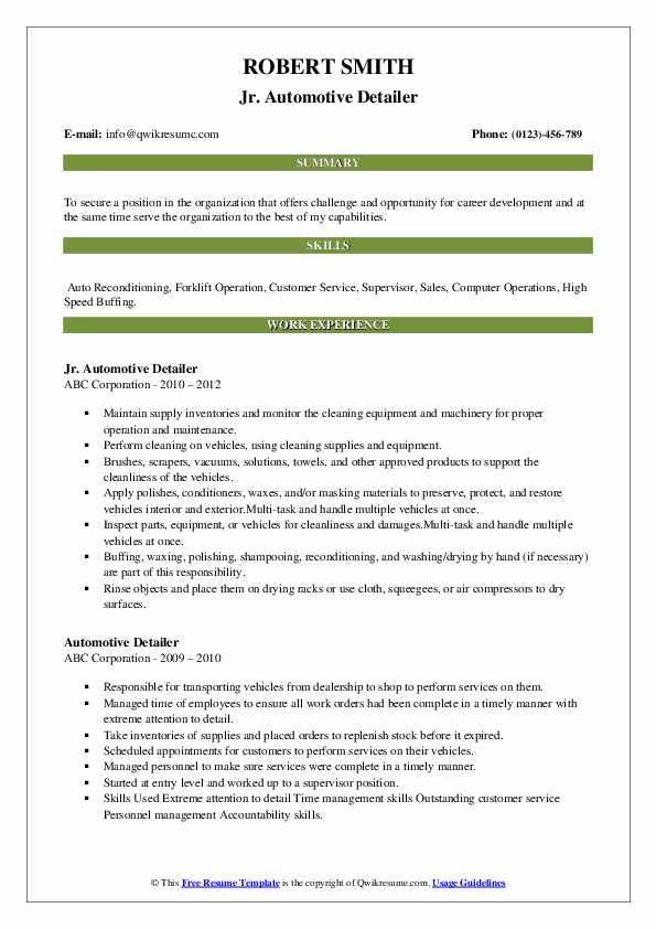 Jr. Automotive Detailer Resume Format
