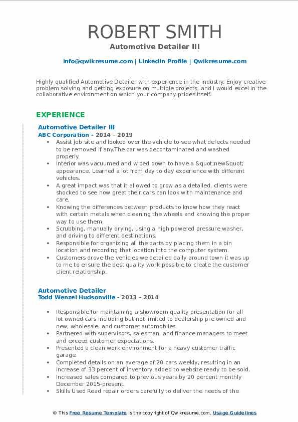 Automotive Detailer III Resume Sample