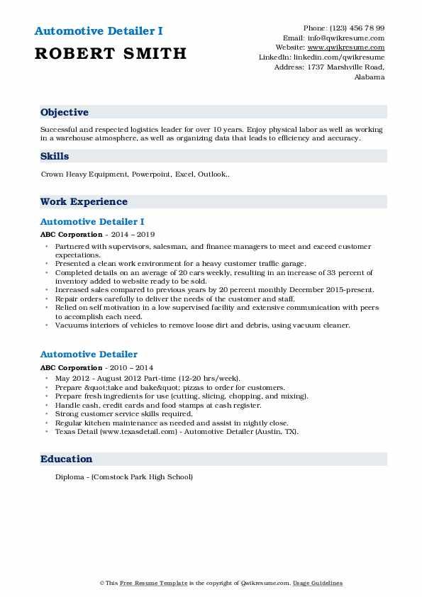 Automotive Detailer I Resume Format