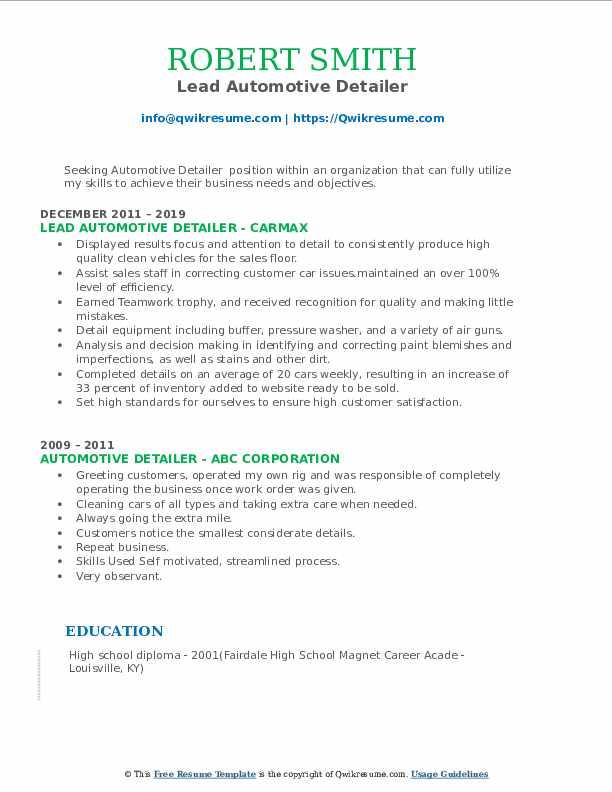 Lead Automotive Detailer Resume Sample
