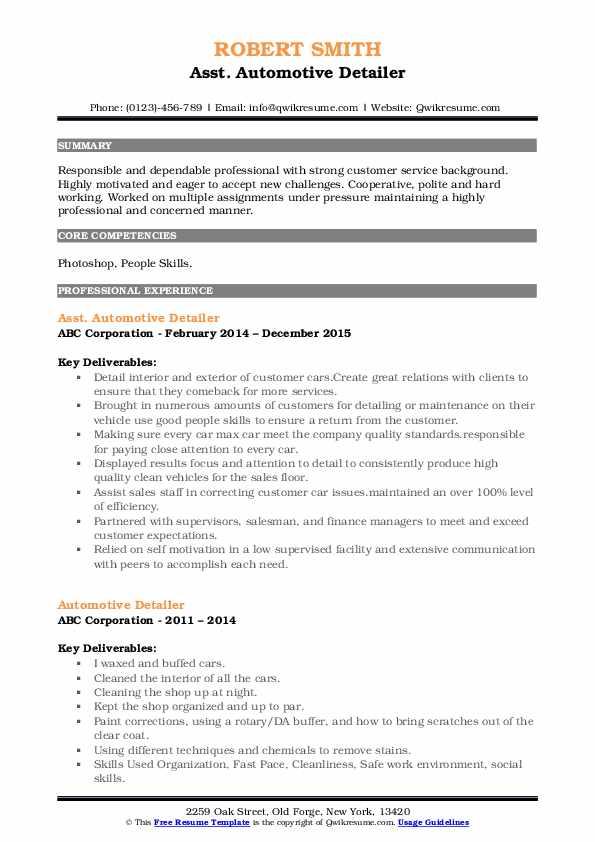 Asst. Automotive Detailer Resume Template