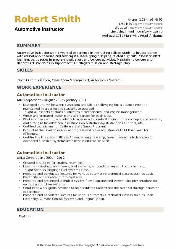 Automotive Instructor Resume example