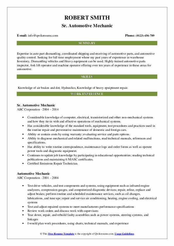 Sr. Automotive Mechanic Resume Format