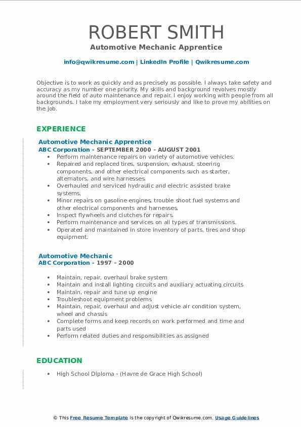 Automotive Mechanic Apprentice Resume Template