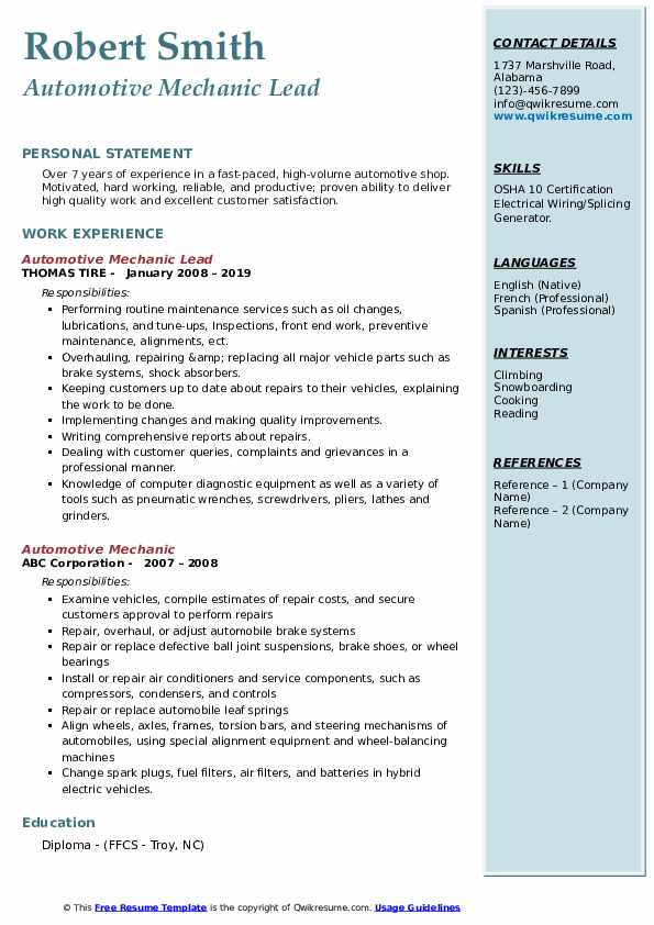 Automotive Mechanic Lead  Resume Example