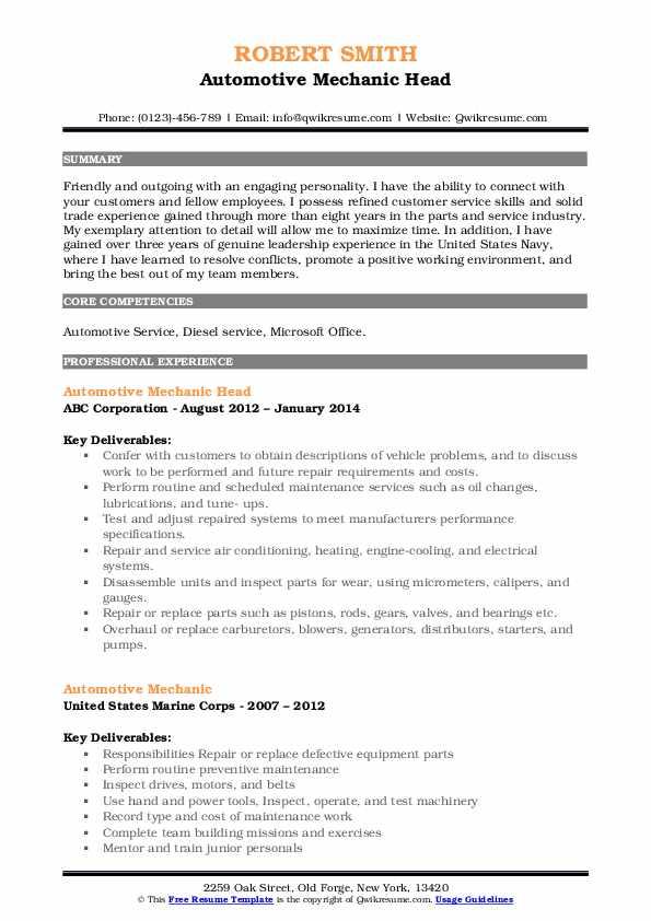 Automotive Mechanic Head Resume Model