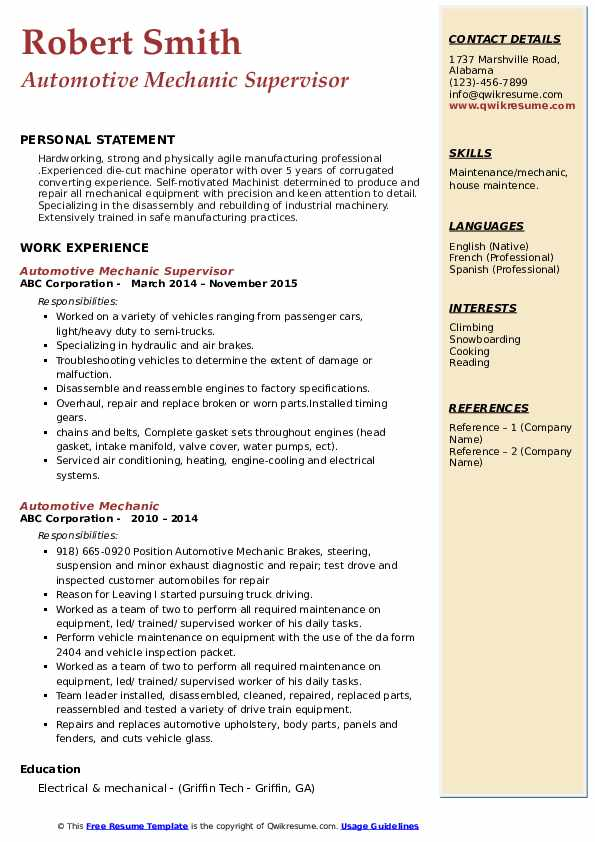 Automotive Mechanic Resume Samples Qwikresume