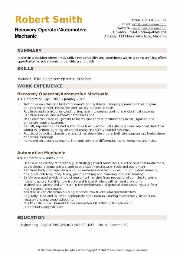 Recovery Operator/Automotive Mechanic Resume Model