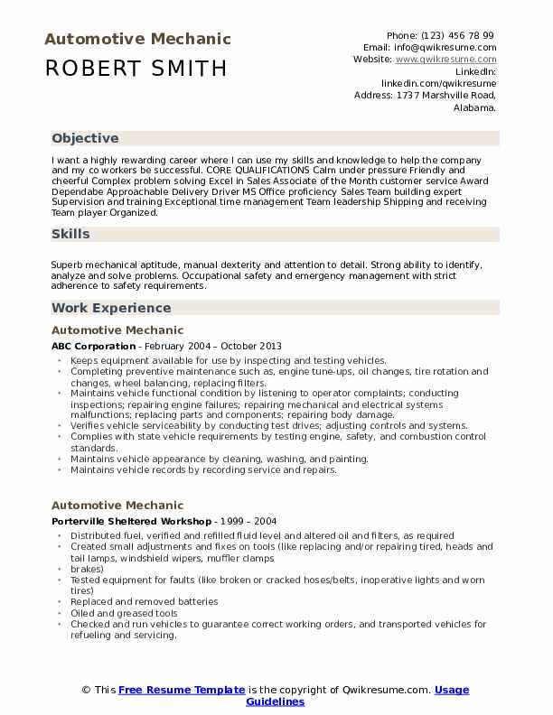 Automotive Mechanic Resume example