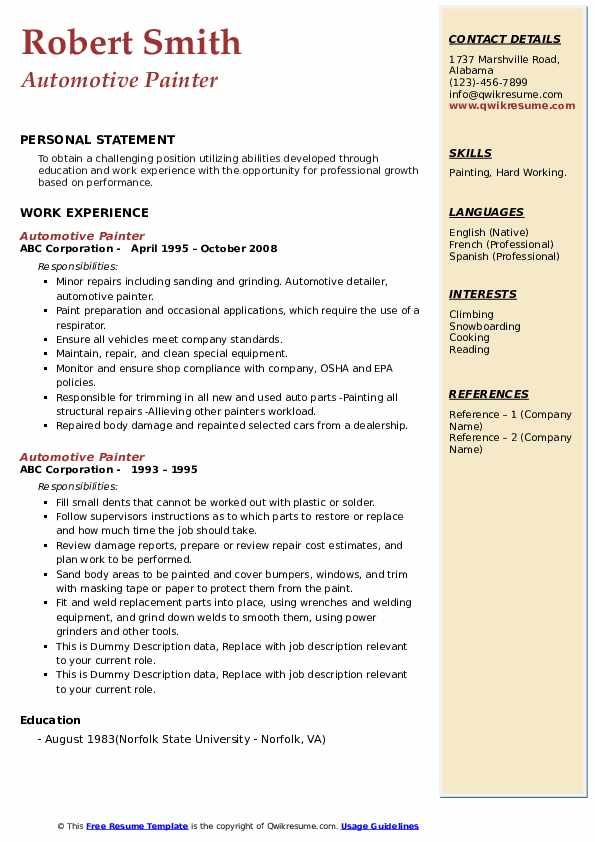 Automotive Painter Resume example