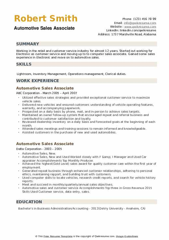 Automotive Sales Associate Resume example