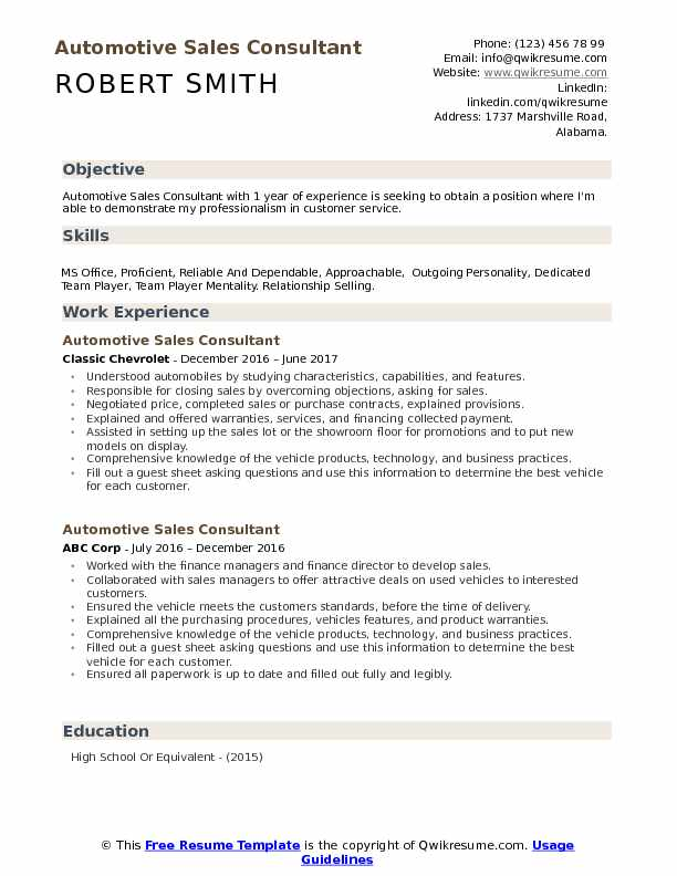 Automotive Sales Consultant Resume Model