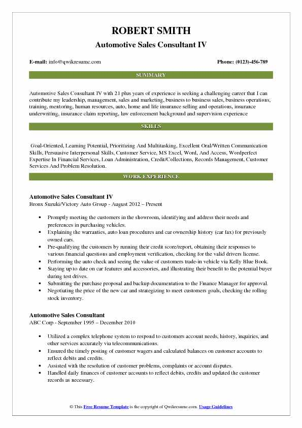 Automotive Sales Consultant IV Resume Sample