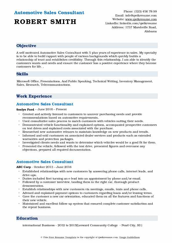 Automotive Sales Consultant Resume Sample