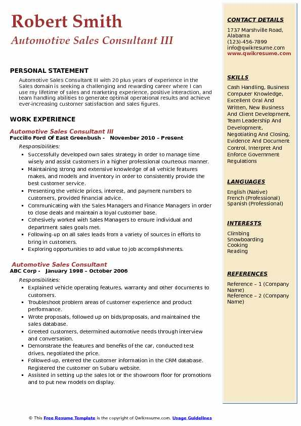 Automotive Sales Consultant III Resume Format