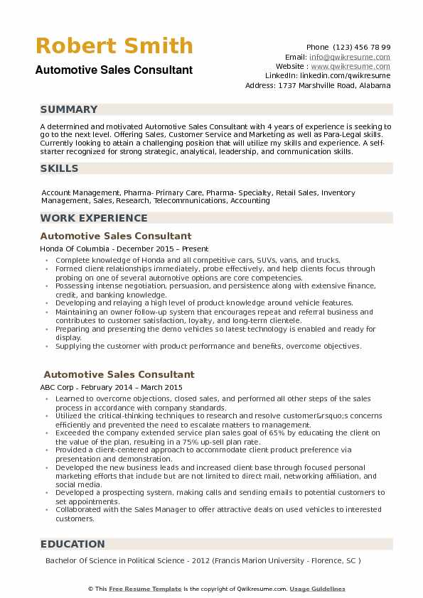 automotive sales consultant resume example