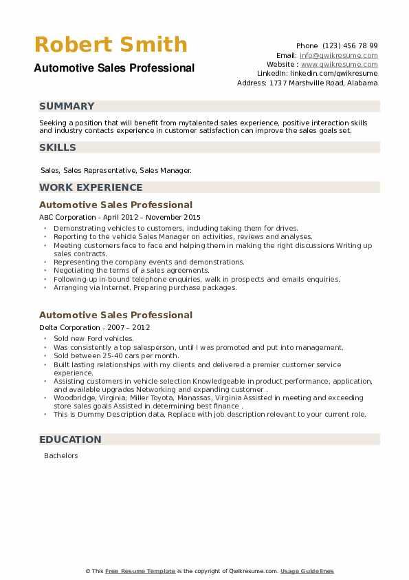 Automotive Sales Professional Resume example