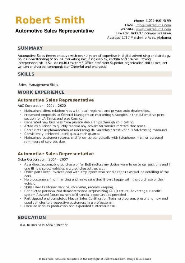 Automotive Sales Representative Resume example