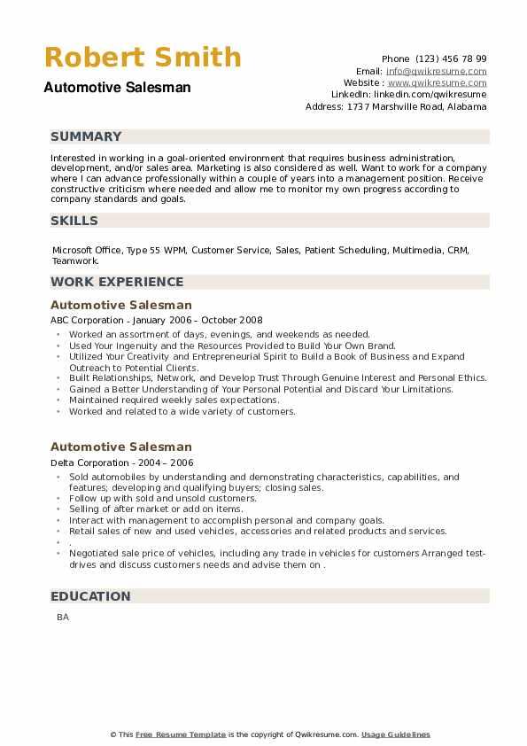 Automotive Salesman Resume example