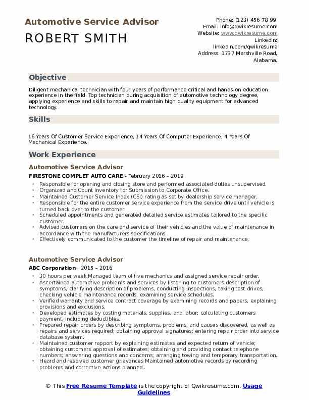 Automotive Service Advisor Resume Samples