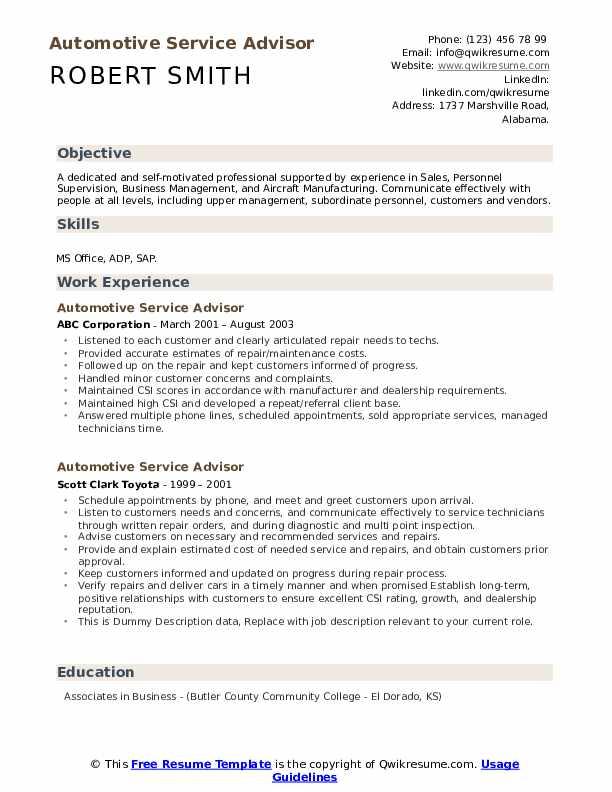 Automotive Service Advisor Resume example