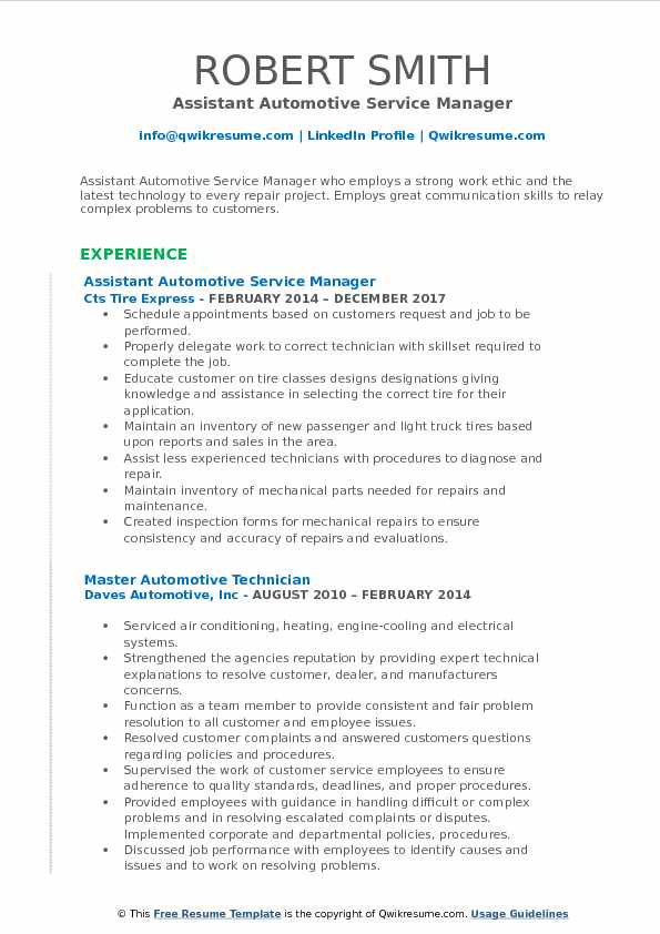 Istant Automotive Service Manager Resume Format