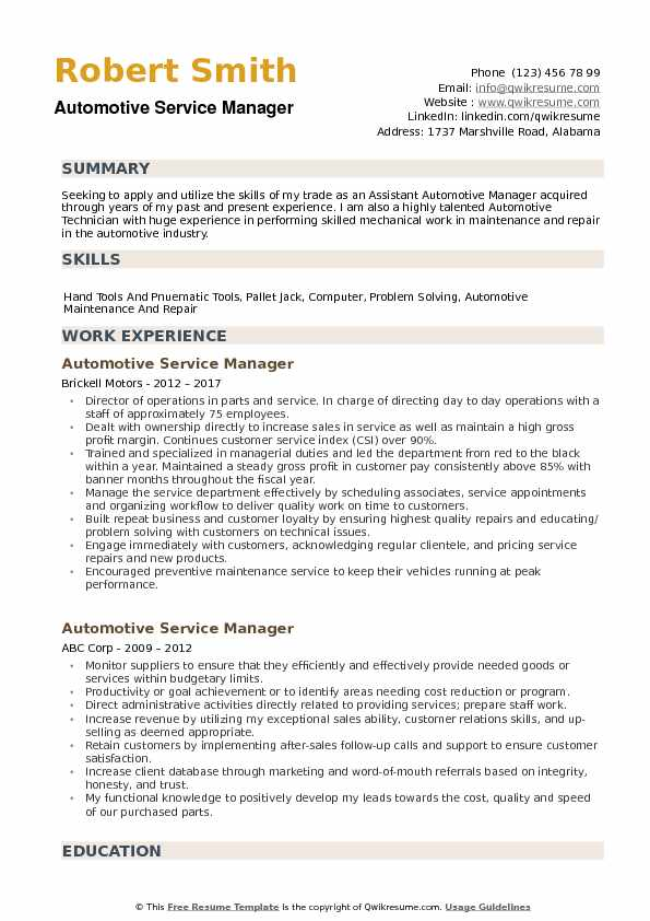 Automotive Service Manager Resume Samples | QwikResume