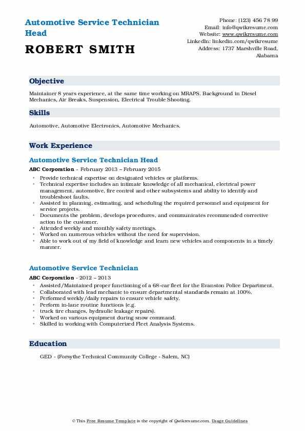 Automotive Service Technician Resume Samples   QwikResume