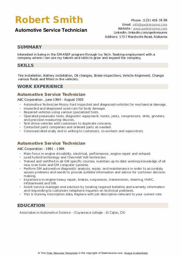 Automotive Service Technician Resume example