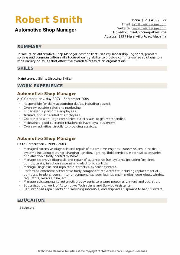 Automotive Shop Manager Resume example