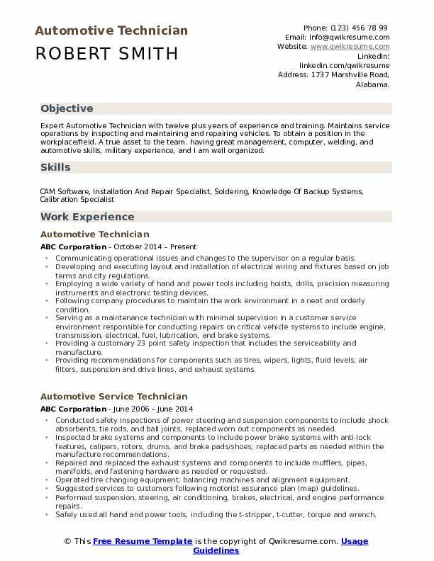 Automotive Technician Resume Sample Download PDF