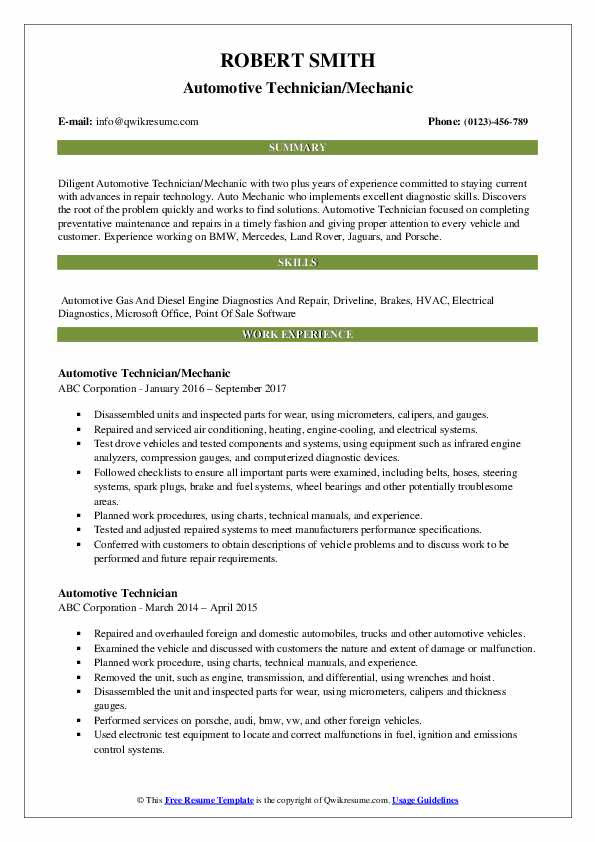 91+ Automotive Technician Resume Pdf - Best Automotive Technician