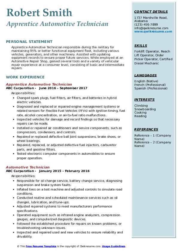 Apprentice Automotive Technician Resume Format Download PDF