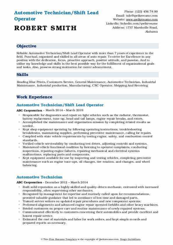 Automotive Technician/Shift Lead Operator Resume Format