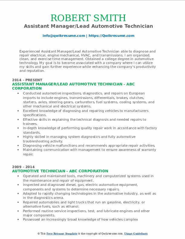 Assistant Manager/Lead Automotive Technician Resume Model