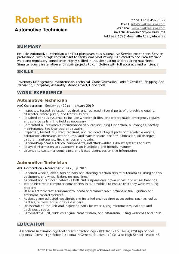 Automotive Technician Resume Samples | QwikResume
