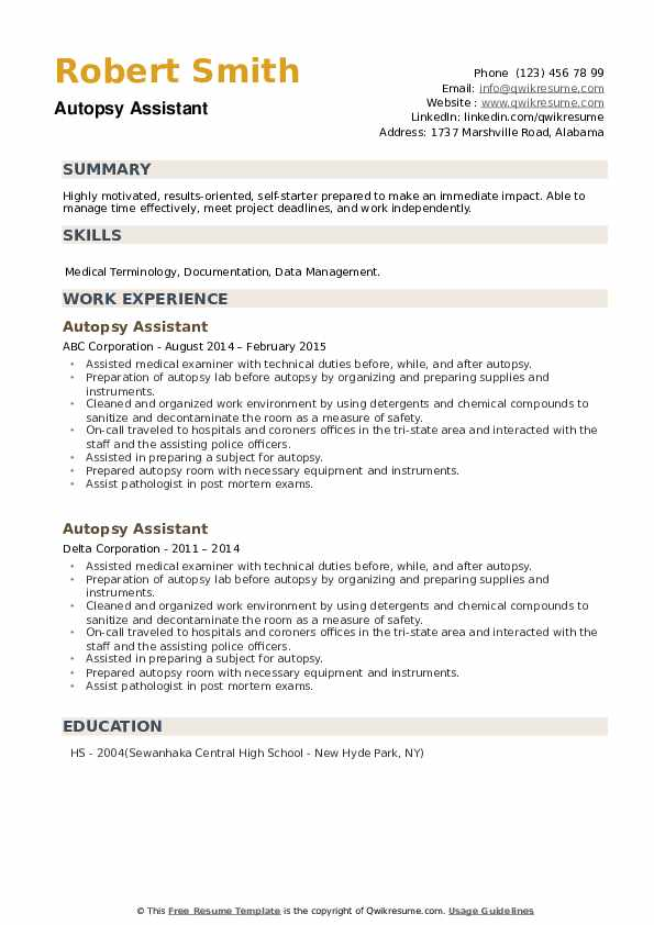 Autopsy Assistant Resume example