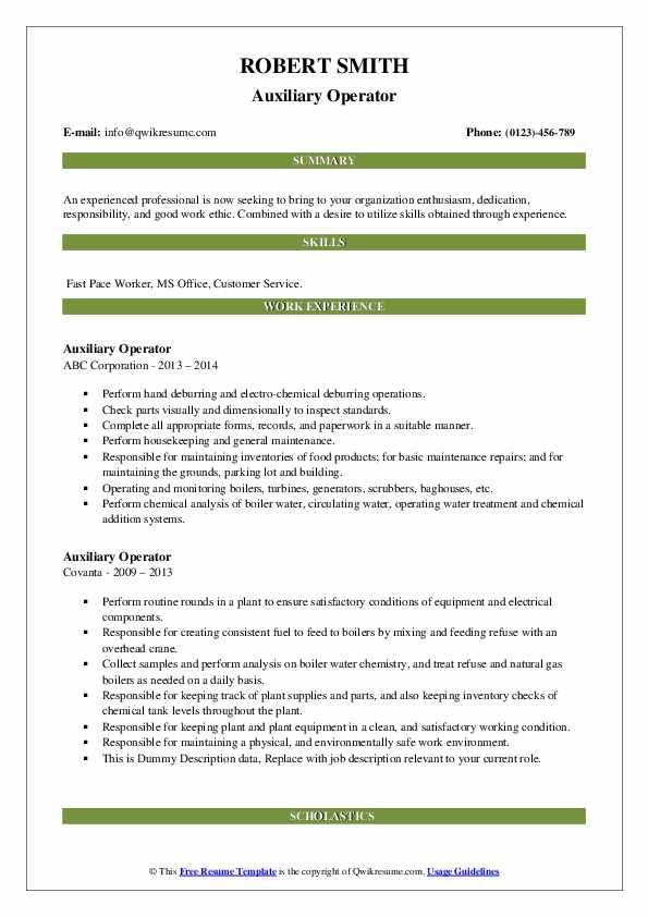 Auxiliary Operator Resume example